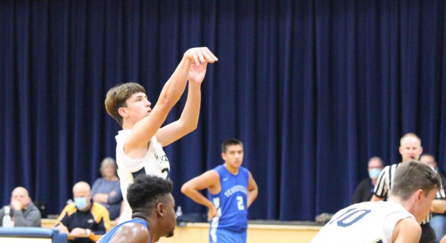 Senior Blake McGraw shoots a free throw against Seagoville High.