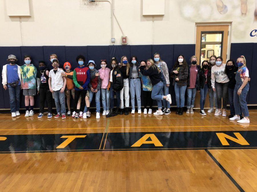 This group of seventh-graders dresses up for Nineties day.