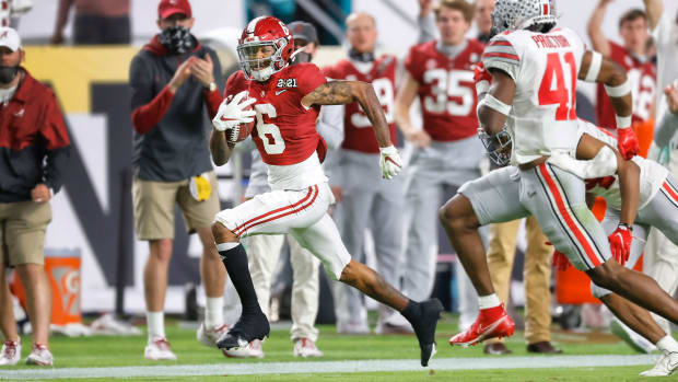 Alabama wide receiver Devonta Smith scores his second touchdown.