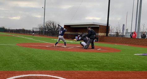 Senior Jake Gerardis looking to get a hit during his time at bat.