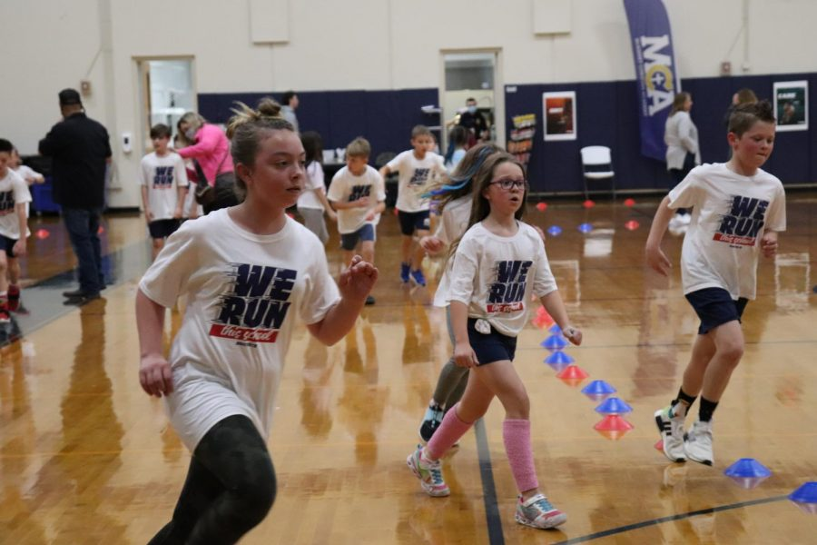 Fourth grade girls were running fast at the BoosterThon fun run.