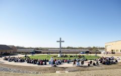 A shot of all the students at Easter Chapel from the Upper School
