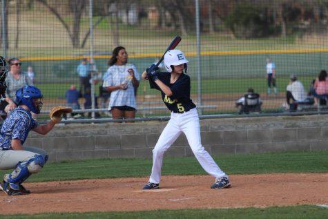 Eighth grader, Hayden Lorenzo, stands ready to bat against Parish Episcopal.