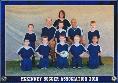 The boys pose for a picture on their first soccer team back in elementary school