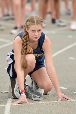 Eighth grader, Joy Allen, waits for her race to start.