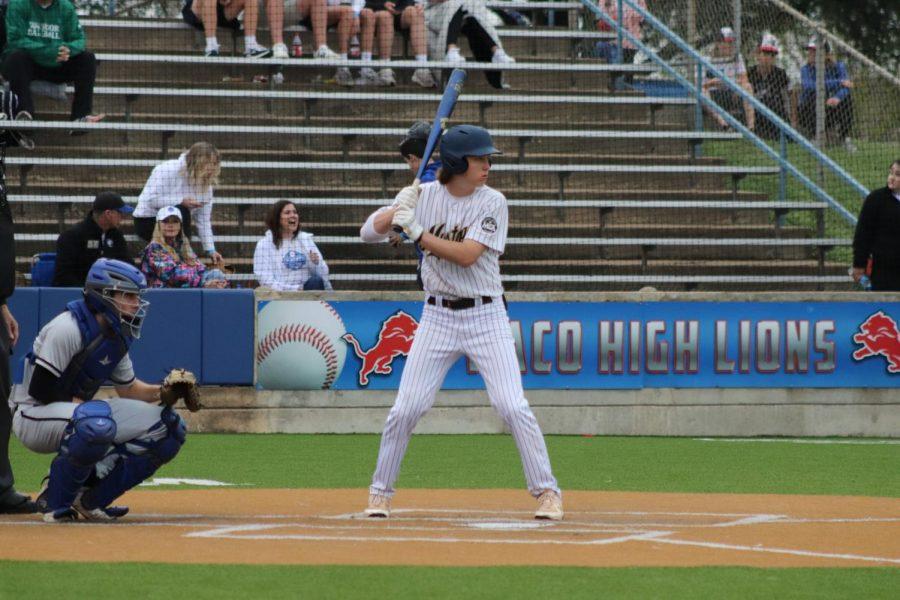 Freshmen Jax Marshall up to bat.